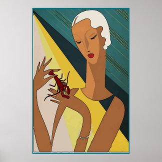 Poster Art deco da cauda da pitada dos lagostins