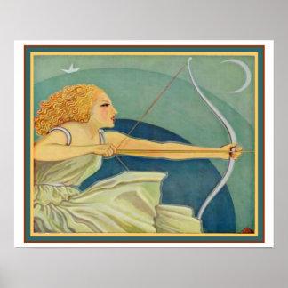 "Pôster Art deco de ""arqueiro"" Ca 1928 16x20 Amazon"