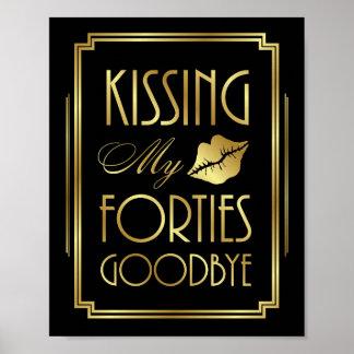 Poster Art deco de Gatsby que BEIJA MEU sinal dos ANOS