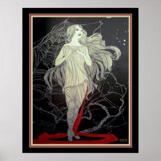 """Poster Art deco """"menina & a Web de aranha"""" 16 x 20"""