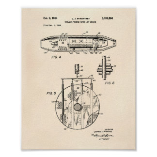 Pôster Arte 1959 nuclear do motor de jato da água Peper