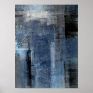 """Pôster Arte abstracta azul e cinzenta """"desajeitada"""""""