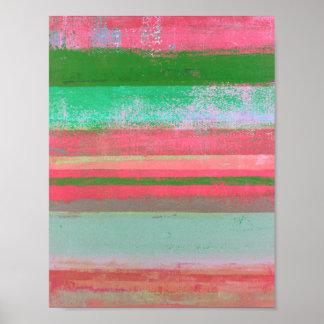 """Pôster Arte abstracta cor-de-rosa e verde """"Toppled"""""""