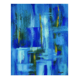 Pôster Arte abstracta que pinta Brushstrokes azuis do
