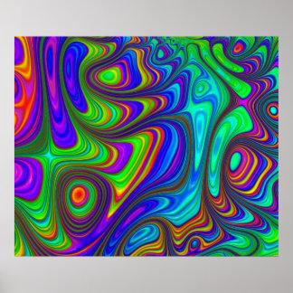 Poster Arte abstracta textured 3D colorida do arco-íris