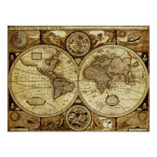 Poster Arte bonita do mapa do mundo do vintage e da