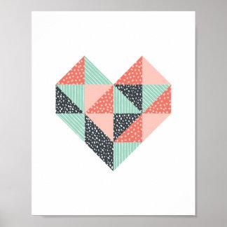Pôster Arte da hortelã do coração do triângulo e da