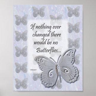 Pôster Arte da parede da borboleta com citações