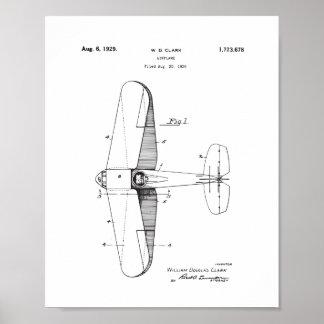 Poster Arte da parede da patente do avião do vintage,