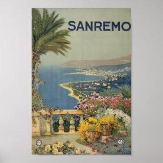 Poster Arte das viagens vintage de Sanremo Italia