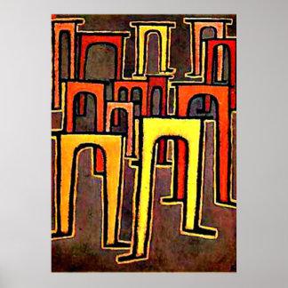 Poster Arte de Paul Klee - revolução do Viaduct-1937