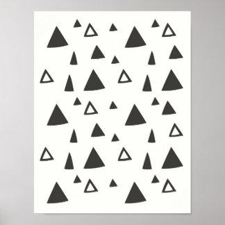 Pôster Arte desenhado mão da parede dos triângulos |