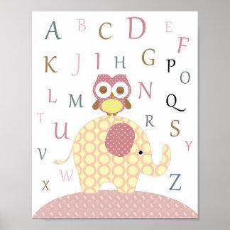Poster Arte do alfabeto da coruja do berçário