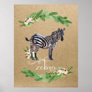 Pôster Arte do berçário da selva do safari da zebra