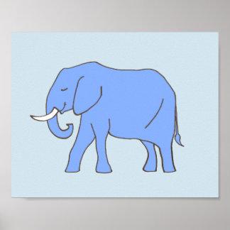 Pôster Arte do berçário do elefante do bebê no azul