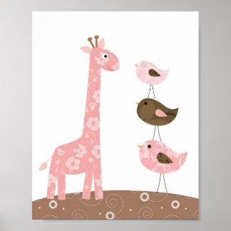 Pôster Arte do berçário do girafa e do pássaro