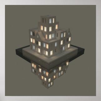 Pôster Arte do conceito da arquitetura das reflexões 01