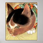 """Poster: Arte do gato do vintage: """"Gato curioso do"""