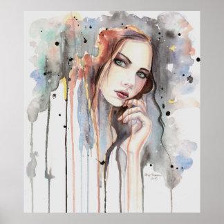 Poster Arte Drippy do retrato do abstrato da aguarela da