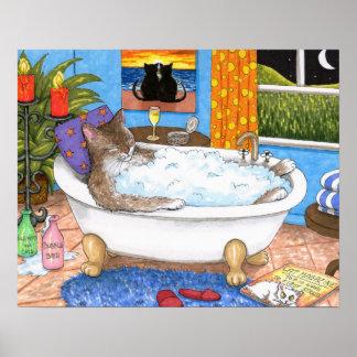 Poster Arte engraçada do banheiro do gato 567