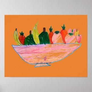 Pôster Arte engraçada dos desenhos animados da salada de