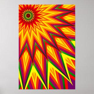 Poster Arte floral abstrata colorida do girassol do