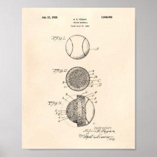 Pôster Arte interna Peper velho da patente do basebol