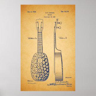 Pôster Arte legal da patente do Ukulele do vintage