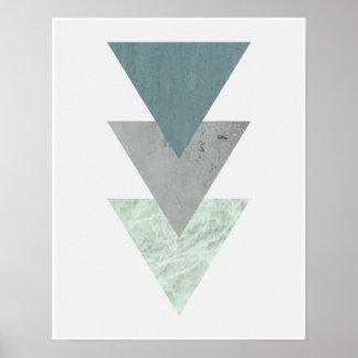 Poster Arte litoral escandinava geométrica do triângulo
