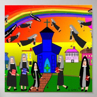 """Whimsical Nuns Canvas Art """"Flying Nuns"""""""