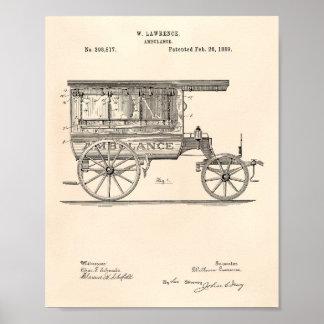 Poster Arte Peper velho da patente da ambulância 1889 do