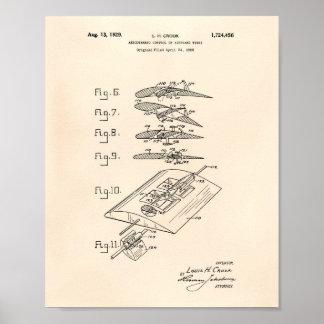 Pôster Arte Peper velho da patente da asa 1929 do avião