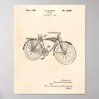 Poster Arte Peper velho da patente da bicicleta 1939