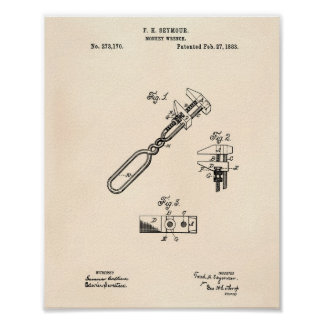 Pôster Arte Peper velho da patente da chave de macaco