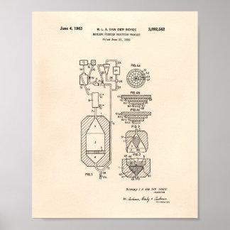 Poster Arte Peper velho da patente da fissão nuclear 1956