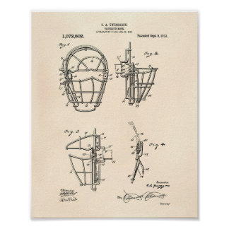 Pôster Arte Peper velho da patente da máscara 1913 do