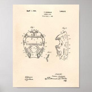 Pôster Arte Peper velho da patente da máscara 1924 do