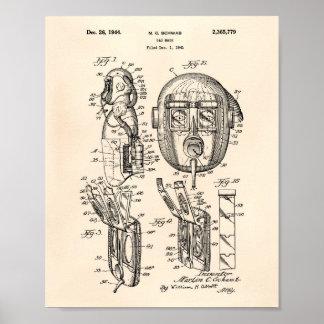 Pôster Arte Peper velho da patente da máscara de gás 1944