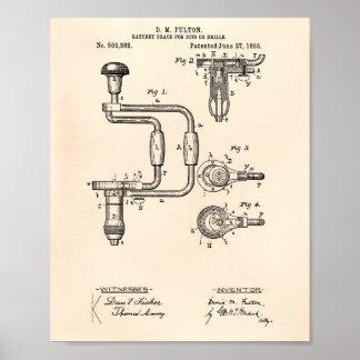 Pôster Arte Peper velho da patente das brocas 1893
