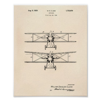 Pôster Arte Peper velho da patente do avião 1929