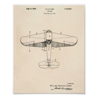 Poster Arte Peper velho da patente do avião 1929