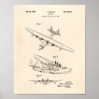Pôster Arte Peper velho da patente do avião 1935