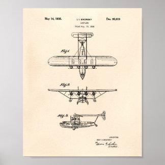Poster Arte Peper velho da patente do avião 1935