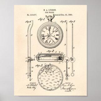 Pôster Arte Peper velho da patente do cronômetro 1889