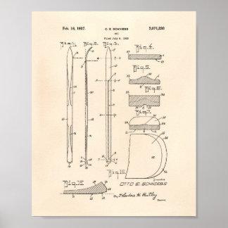 Poster Arte Peper velho da patente do esqui 1937