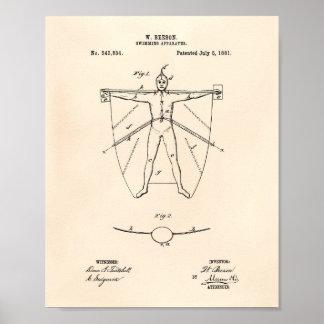 Pôster Arte Peper velho da patente do instrumento 1881 da