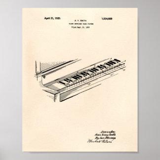 Pôster Arte Peper velho da patente do teclado de piano