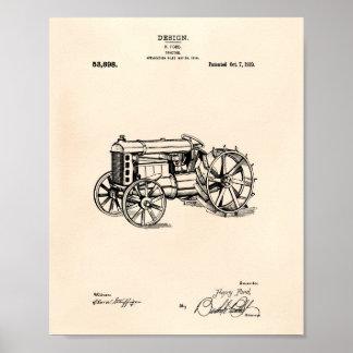 Poster Arte Peper velho da patente do trator 1919