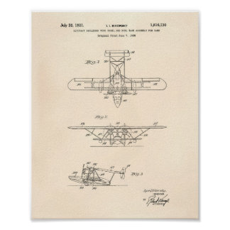 Pôster Arte Peper velho da patente dos aviões 1931