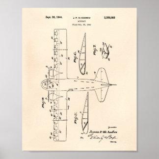 Poster Arte Peper velho da patente dos aviões 1944